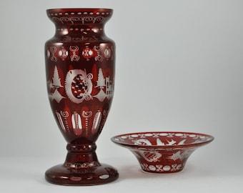Vintage Egermann Glass Vase and Bowl, Red Cut Glass, Red Cut to Clear Glass, Red Cut Crystal Vase, Red Cut Crystal Bowl, Ruby Glass Vase