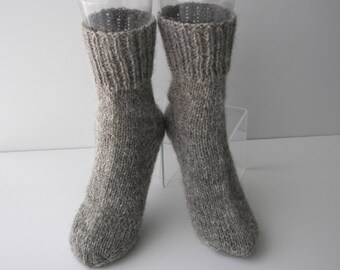 Hand Knit 100% Rustic Undyed ECO Wool GOAT Down Socks in Gray Grey/ Cabin Wedding/ Adult Knit Socks/ meaningful gift / natural fiber socks