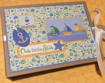 Baby Boy PREMIUM Mini Photo Album, New Baby Gift, Nautical Baby Album, Baby Scrapbook Album, Baby Shower Gift, Premade Photo Album, Baby Boy
