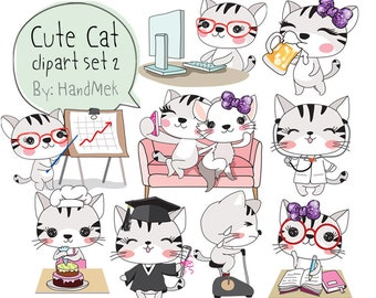 Cute CAT set 2,Kawaii cat clipart instant download PNG file - 300 dpi