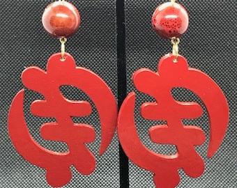 Red Gye Nyame Earrings