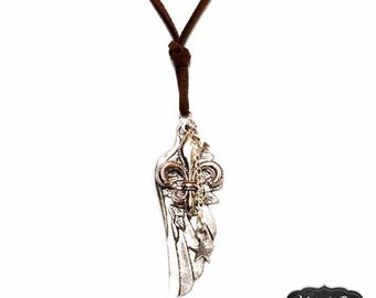 """""""Fitch"""" Silver silver feather necklace"""