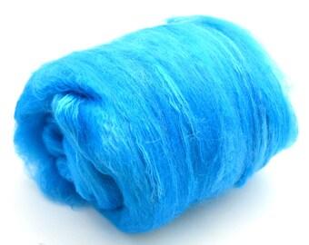 "Merino Silk,, Alpaca, spinning batt, felting wool batt, hand dyed, blue, drum carded smooth, art batt,  Colorway ""I got the blues"" 3.9.oz."