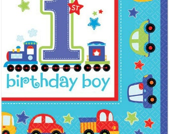 16 Ct Strong Luncheon Size Paper Napkins - Colorful All Aboard Transportation Theme - Birthday Boy - 1st Birthday