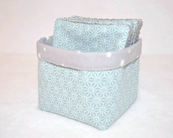 Basket / pouch + 6 cleansing wipes washable, cotton sky blue, gray sponge, a birthday gift idea!