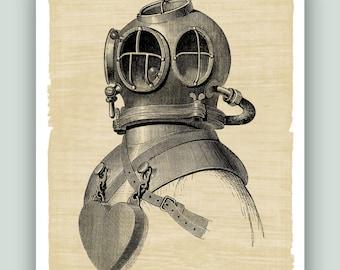 Scuba diver Print, Nautical art, Dive print, Dive poster, Scuba dive Helmet Print, Marine Wall Decor, Old diver helmet, beach cottage decor