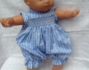 Blue, white, cotton romper has smocking for 36 cm doll