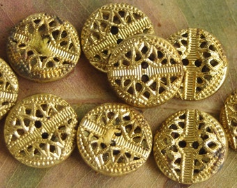 Tiny Antique metal buttons. Set 9 brass Twinkle buttons - Sew thru. Antique Dolls clothes, Vintage Costume