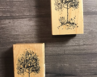 Fall Tree Themed Small Wooden Block Stamp