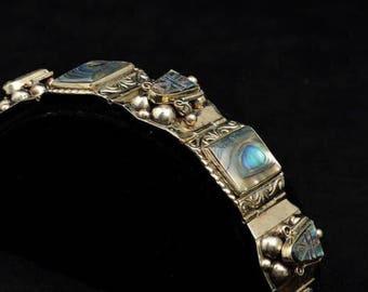 SALE HEFTY OVER 2 oz, Sterling silver Bracelet,taxco Earrings,abalone,Taxco bracelet, Mexican Sterling bracelet ,sterling earrings