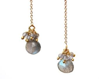 Labradorite and Grey Moonstone Earrings/Handmade Jewelry/Threader Earrings/Pull Through Earrings