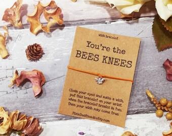 Bees Knees Wish Bracelet, Bee Wish Bracelet, Bee Bracelet, Bee Friendship Bracelet, Bee Charm Bracelet, Bee Jewellery, Friendship Bracelet