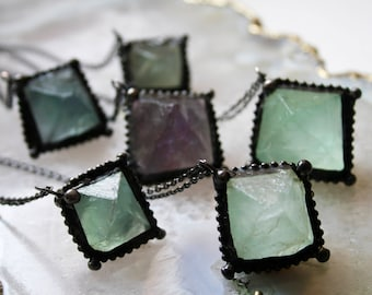 Fluorite Octahedron Necklace // Green Fluorite Crystal Necklace