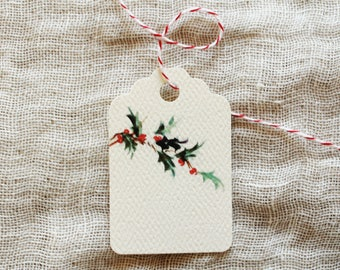 Holiday Gift Tag // Christmas Gift Tag // Holly // Green Red // Mistletoe