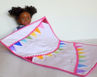 Doll Quilt Bunting Miniature Handmade Quilt Pink Red Blue Aqua Orange Green Purple