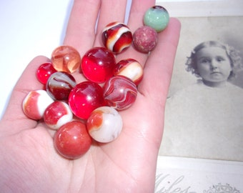 Antique RED Marble Lot of 14 Old Marbles, Includes Translucent Red Marbles , Clay Marble, Unique Marbles, Agates, Colorful Antique Marbles