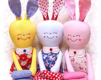 Bunny Rabbit PATTERN, PDF sewing pattern, Softie, Soft Toy, Stuffed Animal, Rag Doll Pattern