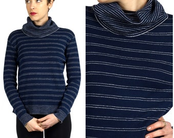 Vintage 1970s Navy & Silver Stripe Cowl Turtleneck Knit Sweater by Act III | Medium