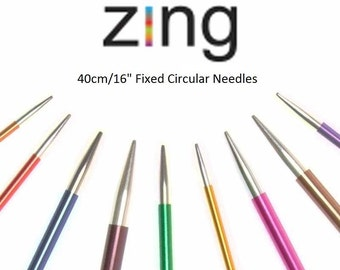"KnitPro Zing 40cm, 16"" Fixed Circular Needles,  colour-coded  and lightweight"