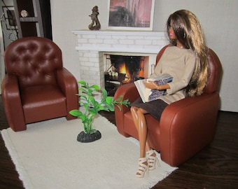 Beautiful Designer Quality BARBIE Faux Leather Armchairs. Set of 2.  Great gift idea for your Girls !