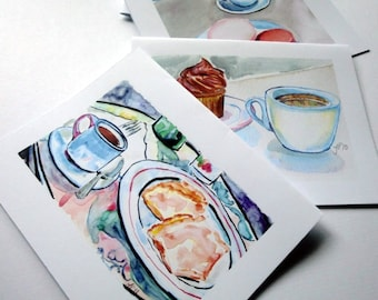 Blank Cafe Cards - Coffee Scenes Watercolor Art Notecards, Set of 4