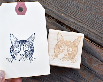 Cat Portrait Rubber Stamp - Custom Pet Stamp - Customized - Personalized - Gift Idea