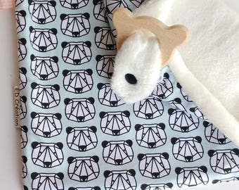 Doudou cotton labels triangular ring bear (2 in 1)