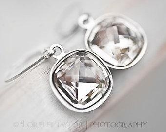Swarovski Crystal Cushion Earrings - Silver Wedding Jewelry