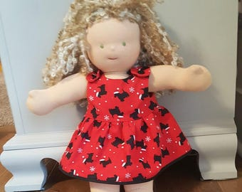 Waldorf Doll Clothes - 14 to 16 inch - Red Dog Print Dress