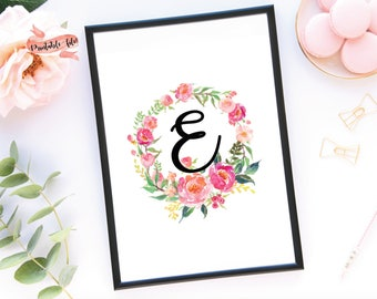 Floral Letter Digital Download for Printing, Watercolor Flowers, Nursery Decor, Little Girl Bedroom, Wall Decor