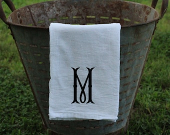 Farmhouse Monogrammed Flour Sack Tea Towel Kitchen Towel, Personalized Kitchen towel, Tea Towel, Flour Sack Towel  Fishtail Monogram