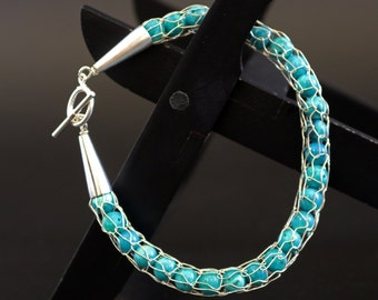 Sterling Silver Knit Bracelet with Turquoise Beads