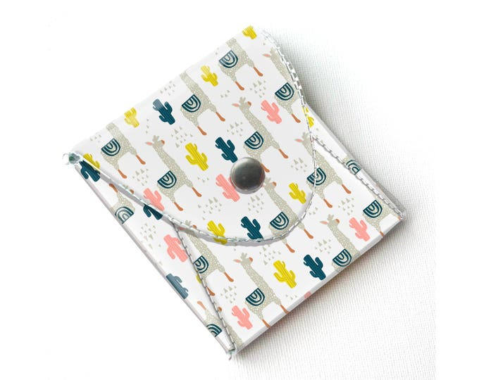 Vinyl Pouch - Alpaca / coin, sewing, notions, wallet, vegan, change, snap, small, little, pocket wallet, gift, llama, cactus, succulents