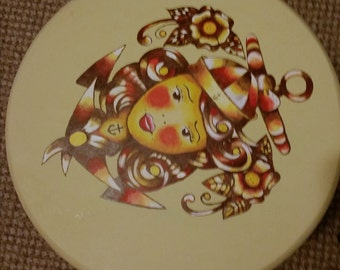 Vintage Retro Stool with Hand Painted Sailor Pin Up Girl Tattoo