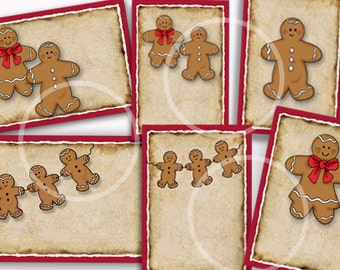 Gingerbread gift Tags, Gingerbread Labels, Gingerbread Men, Gingerbread Christmas Tags, printable gift tags, Baked Goods tags, cookies