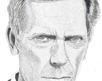 Art Print - Pen & Ink Drawing, A4 - Hugh Laurie