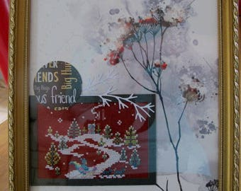 """Painting """"winter"""" embroidered in cross stitch"""