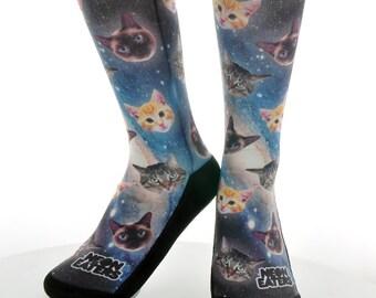 Cats in Space Socks - Galaxy Cat Sock - Hand Printed in USA - Funky Socks   Novelty Socks   Crazy Socks   Girls   Boys   Mens   Womens   Kid