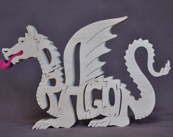 Sale Fantasy Fire Breathing  Dragon Wood Puzzle Hand Cut with Scroll Saw Toy
