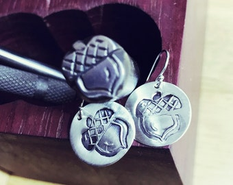 Acorn Earrings - Hand Stamped - Solid Argentium Sterling Silver - Medium Size