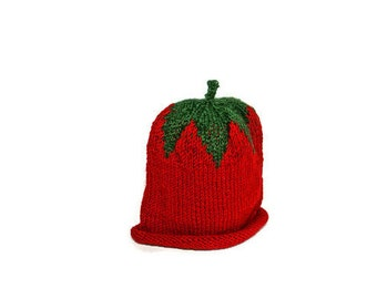 Baby Knit Hat, Animal Hat for Kids, 6-18 months, Handmade Knit Baby Hat, Strawberry Hat for Baby