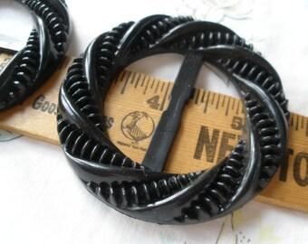 "Steampunk Buckle Textured Matte Black Scarf Slide 1.5"" opening plastic round 2.75"" t-shirt slide novelty retro ribbon embellish charcoal"