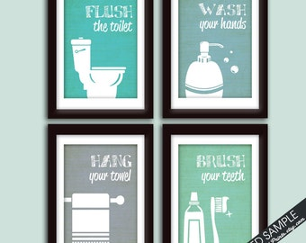Funny Bathroom Prints - Art Print (Featured in Brushed Steel Color K, P, Y and U) Instructional Bathroom Signs