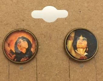Recycled Comic Book inspired earrings Vampirella retro