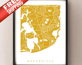 Osterville, Cape Cod Map Print - FREE SHIPPING