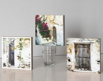 Three Photo Blocks - Greek Village House, vine leaf, pink flowers 14.5cm square freestanding, stacking, home decor, gift under 50
