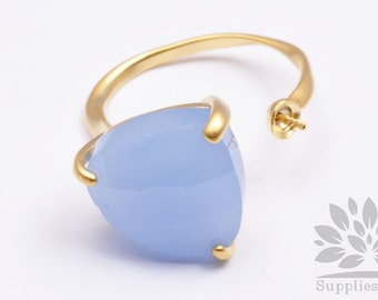 R001-MG-RB// Matt Gold Plated Royal Blue Faceted Glass Stone Ring, 1pc