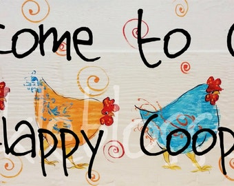 "5.5"" X 21""  #112 Funky Folk art Chicken sign chicken art hand painted"