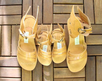 "Wedges Mommie & Me - Genuine Greek Leather sandals-gladiator sandals - sandals with wings, sandals with stripes ""Hermes"""
