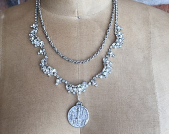 Vacation in Lourdes: vintage assemblage necklace, rhinestone necklace, repurposed jewelry